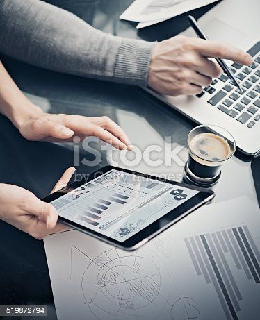 517496962 istock photo Analytical department working process.Closeup woman showing business reports modern 519872794