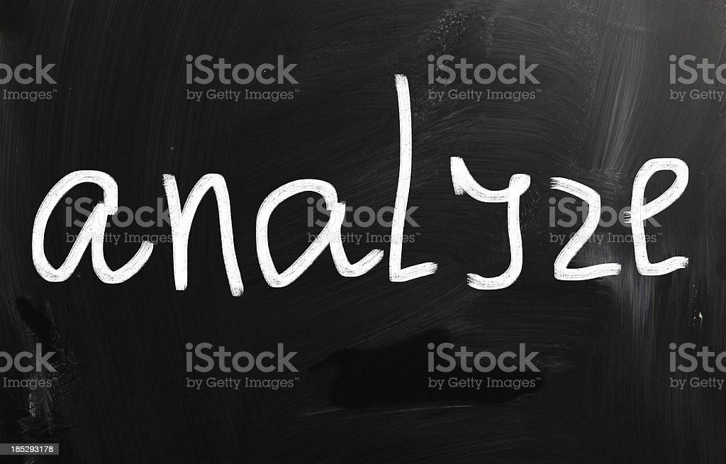 'Analyze' handwritten with white chalk on a blackboard royalty-free stock photo