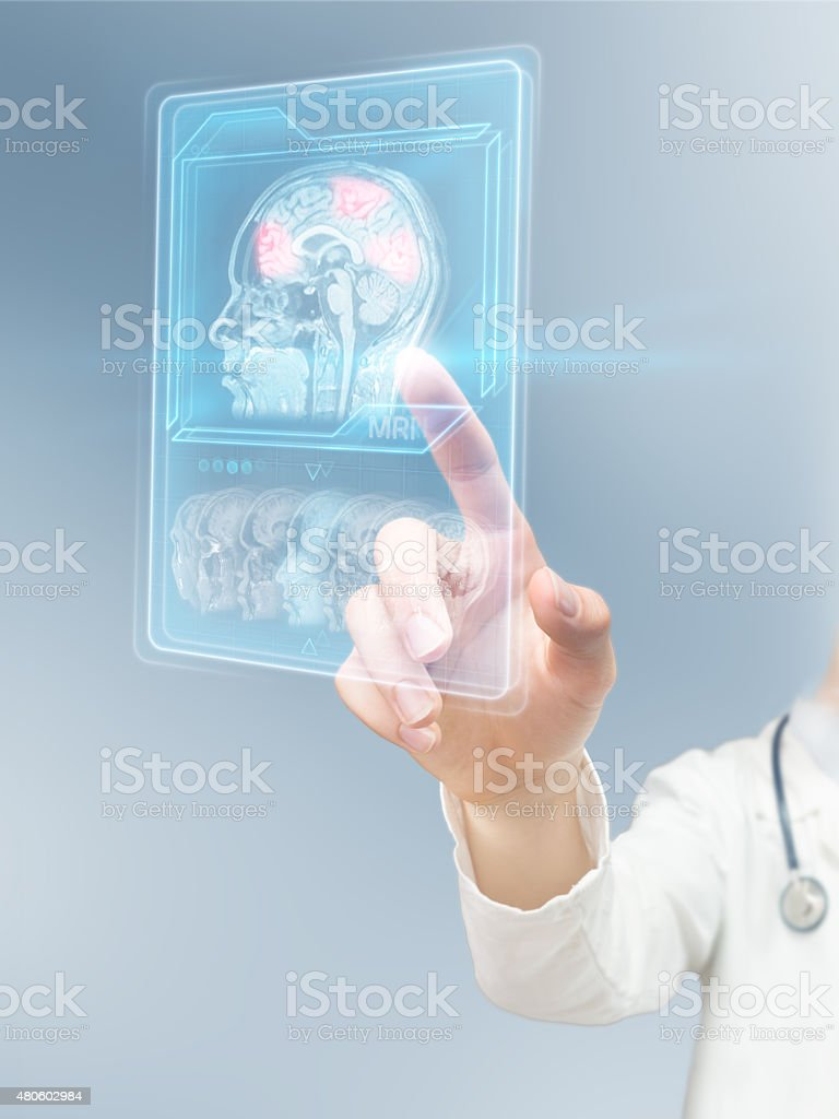 Analyzing brain activity stock photo