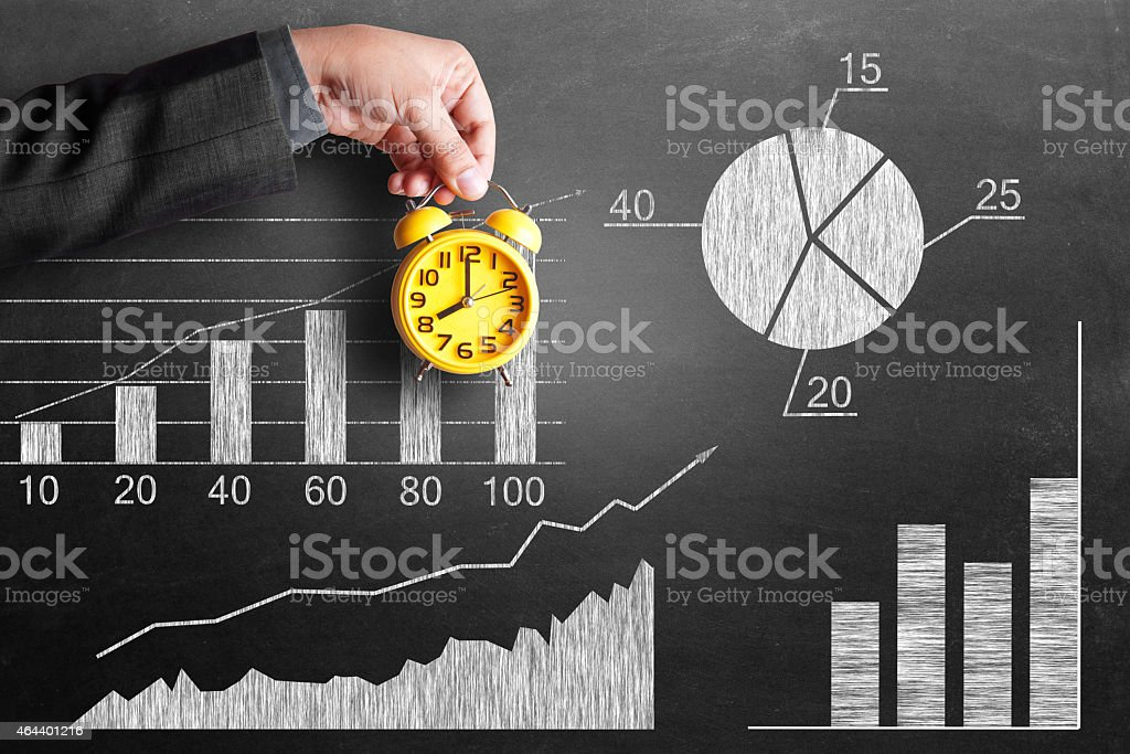 Analyzing business growth report stock photo