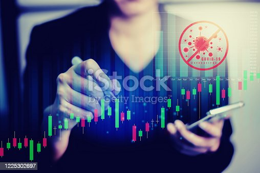 860389678 istock photo Analyzing Coronavirus covid-19 with financial data and stock graph. Analysis of numerical data and stock market communication with businesses worldwide. Stop Novel Coronavirus outbreak covid-19. 1225302697