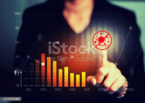 860389678 istock photo Analyzing Coronavirus covid-19 with financial data and stock graph. Analysis of numerical data and stock market communication with businesses worldwide. Stop Novel Coronavirus outbreak covid-19. 1225303387