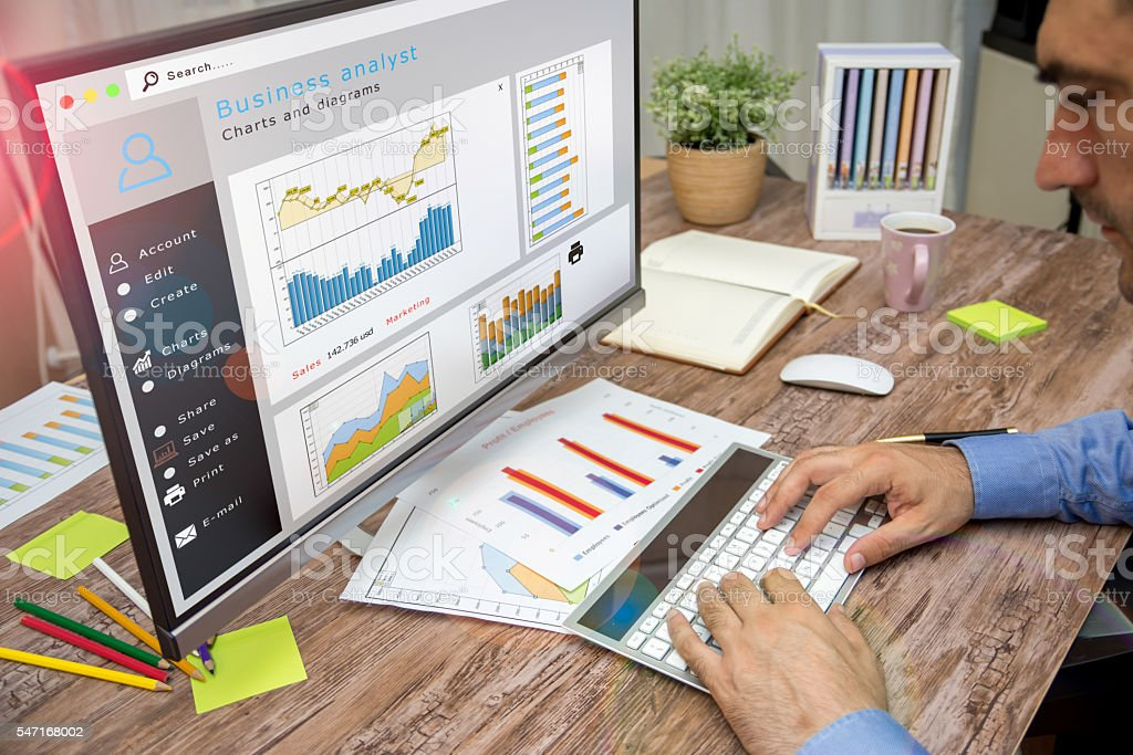 Analyzing data in office stock photo