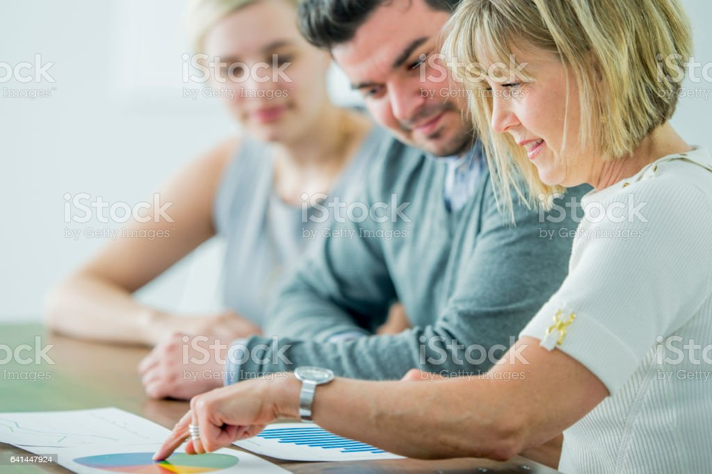 Analyzing Data in the Boardroom stock photo