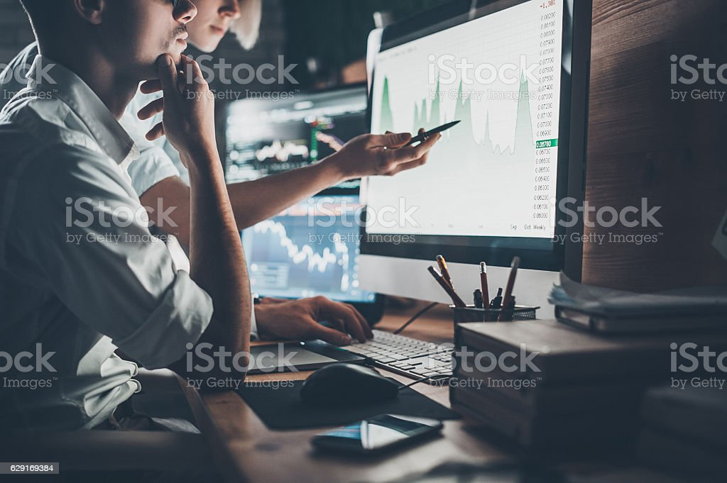 Analyzing data. stock photo
