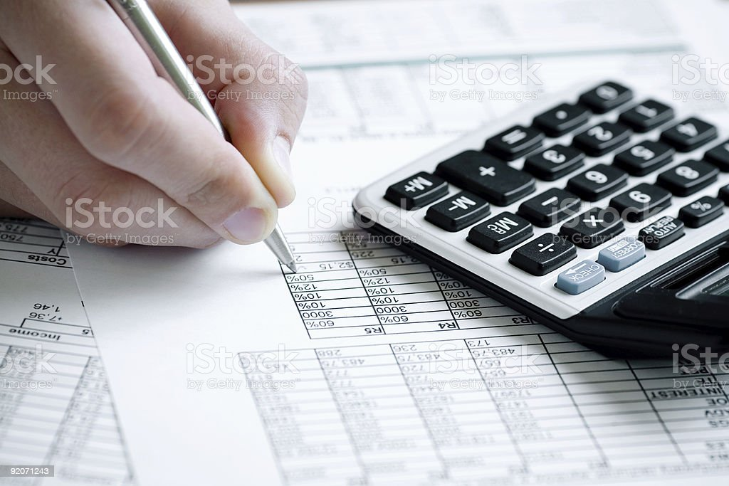 Analyzing financia data stock photo