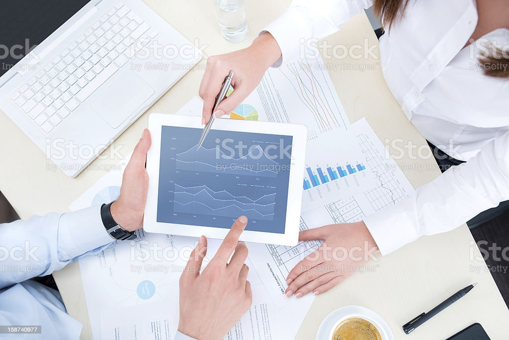 Analyzing financial chart stock photo