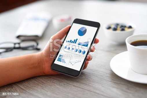 Woman analyzing financial charts on smart phone on a desk.