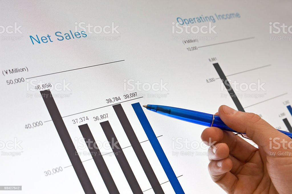 analyzing sales charts royalty-free stock photo
