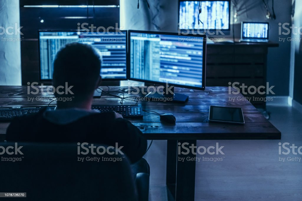 Analyzing the back door Hacker in deep mind solutions to destroy web Adult Stock Photo