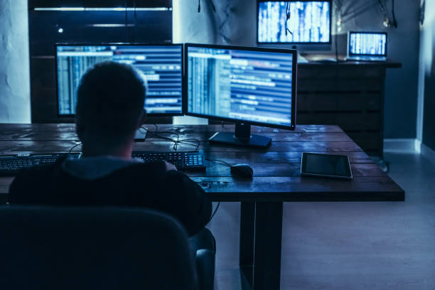 Analyzing the back door Hacker in deep mind solutions to destroy web computer crime stock pictures, royalty-free photos & images