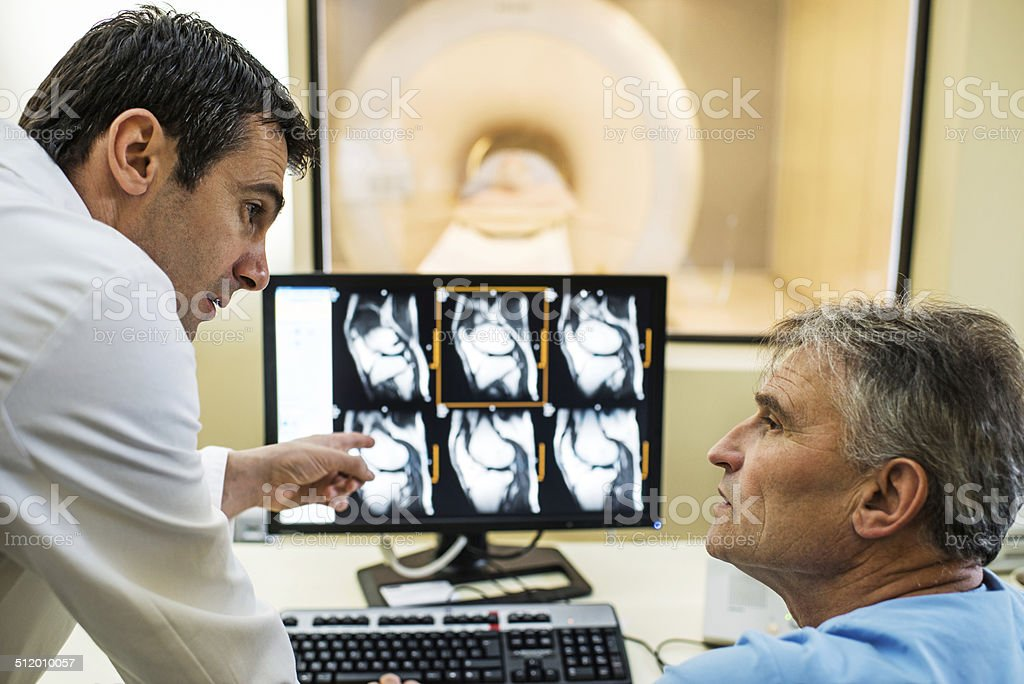 Analyzing X-ray images. stock photo