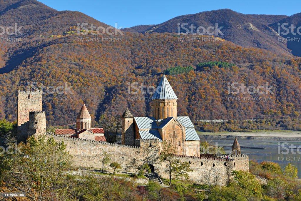 Ananuri Cathedral in Georgia, Caucasus stock photo