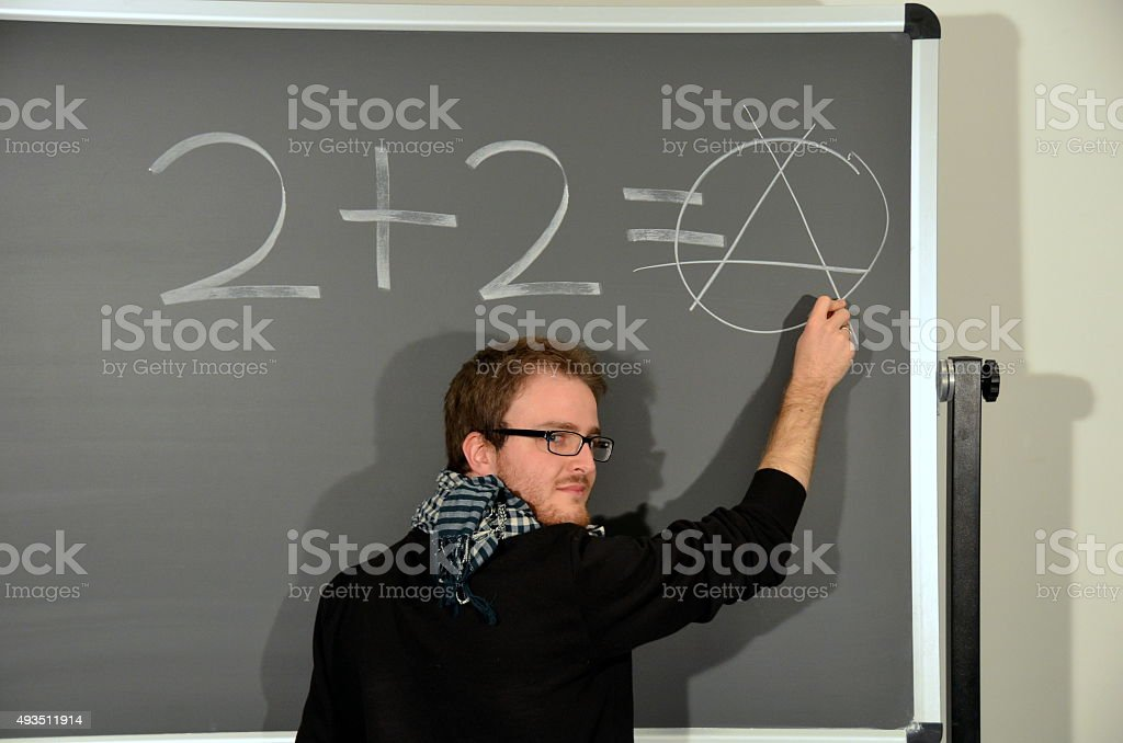 Anarchist writes on blackboard stock photo