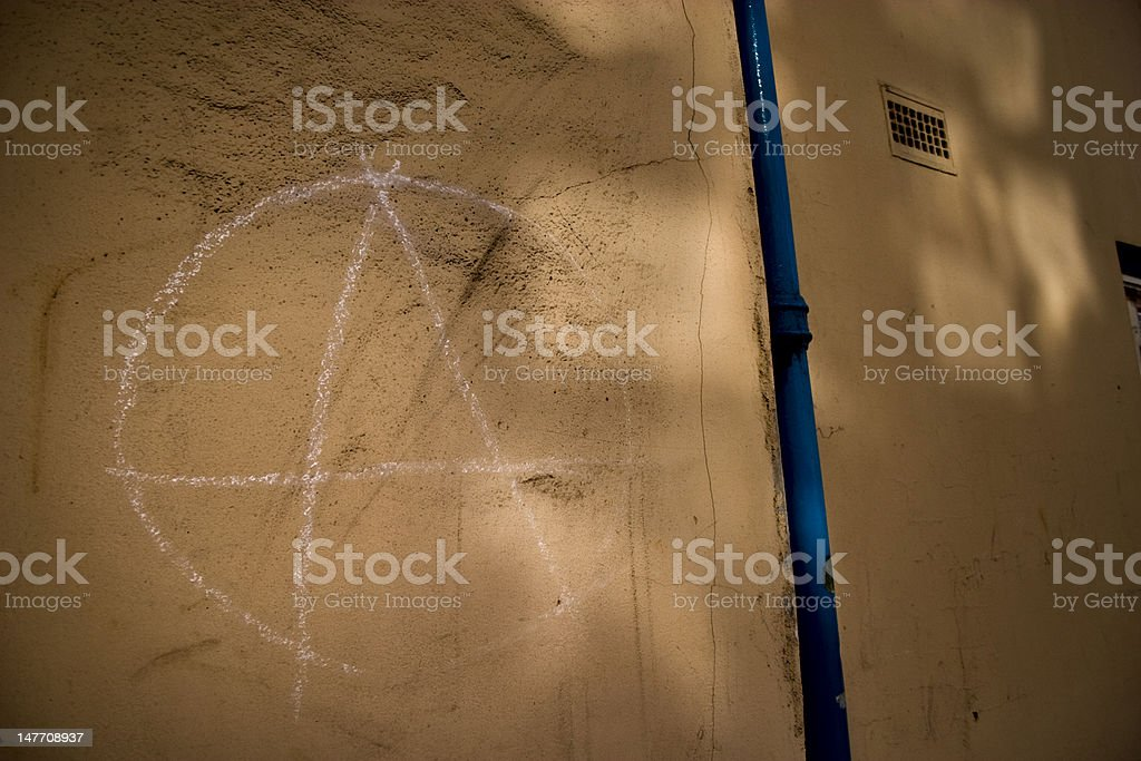'Anarchy' sign made with chalk stock photo