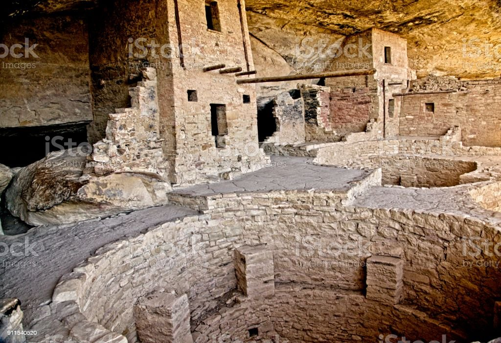 Anasazi Cliff Dwelling with Kiva stock photo