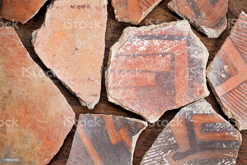 Anasazi Indian pottery artifacts royalty-free stock photo