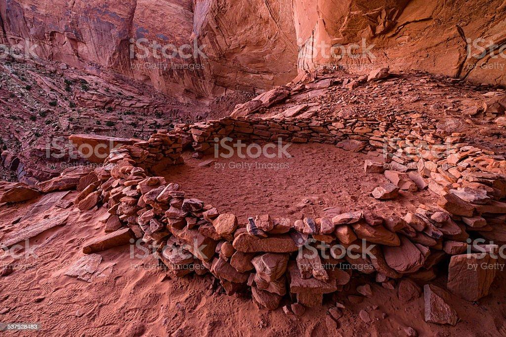Anasazi Kiva and The Candlestick Desert Canyon View stock photo