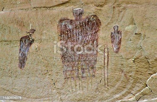 Anasazi Native American ancient pictographs in Horseshoe Canyon at Canyonlands National Park near Moab Utah USA.