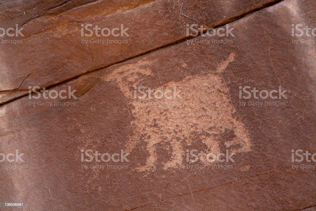 Anasazi Rock Art: Animal Petroglyph in southeastern Utah royalty-free stock photo