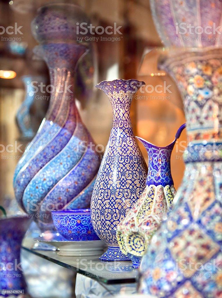 Anatolian ceramic tile - Oriental embroidied pots, Iran stock photo