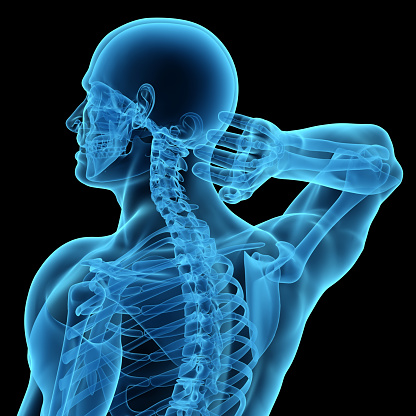 Anatomy of a man showing neck and head pain. Isolated on a black background.