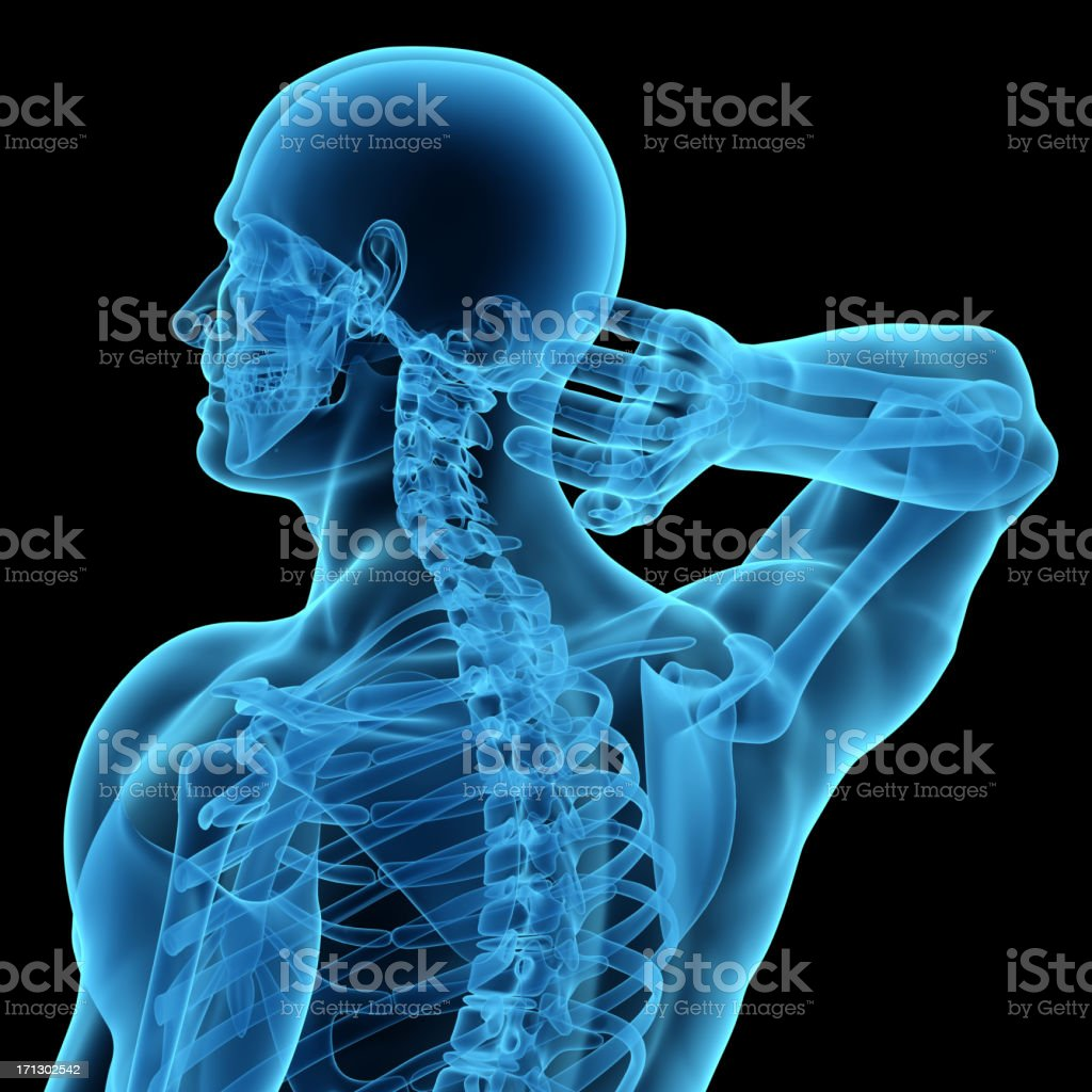 Anatomy of a man showing neck and head pain stock photo