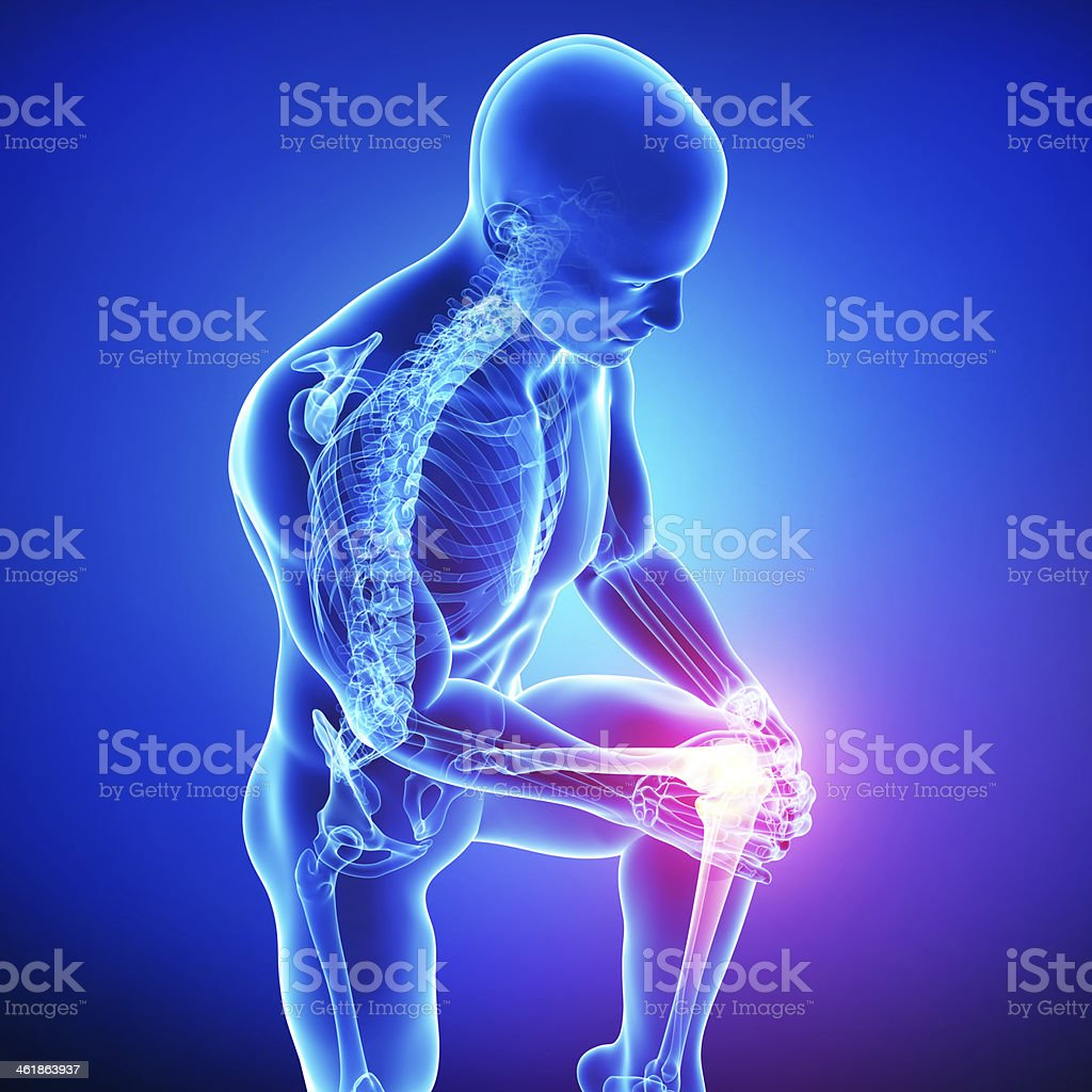 Anatomy Of Male Knee Pain In Blue Stock Photo & More Pictures of ...