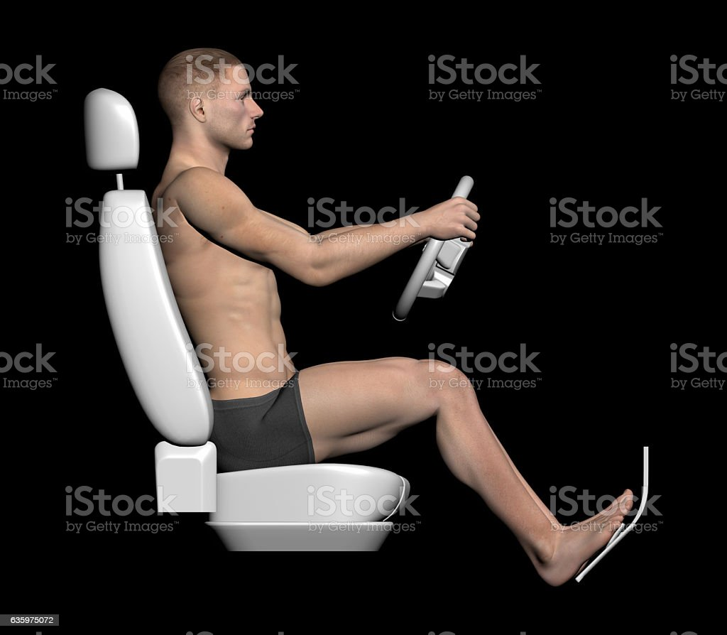 Anatomy of the human body at the wheel driving stock photo