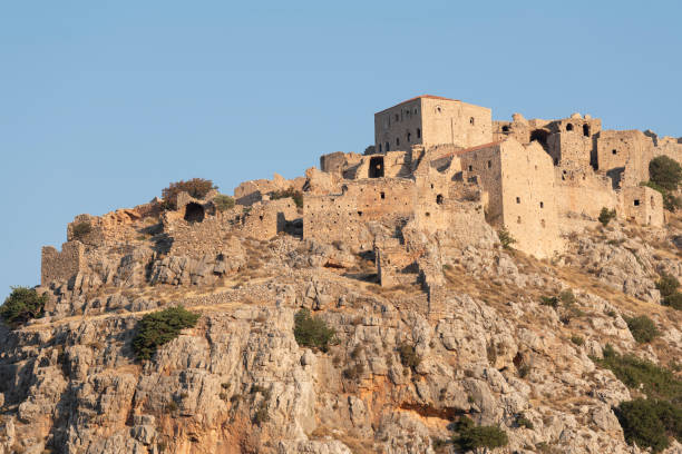 Anavatos ghost town on Greek Island of Chios stock photo