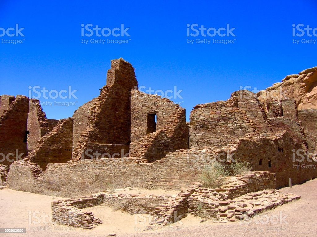 Ancestral Puebloan ruins at Chaco Culture National Historical Park, New Mexico stock photo