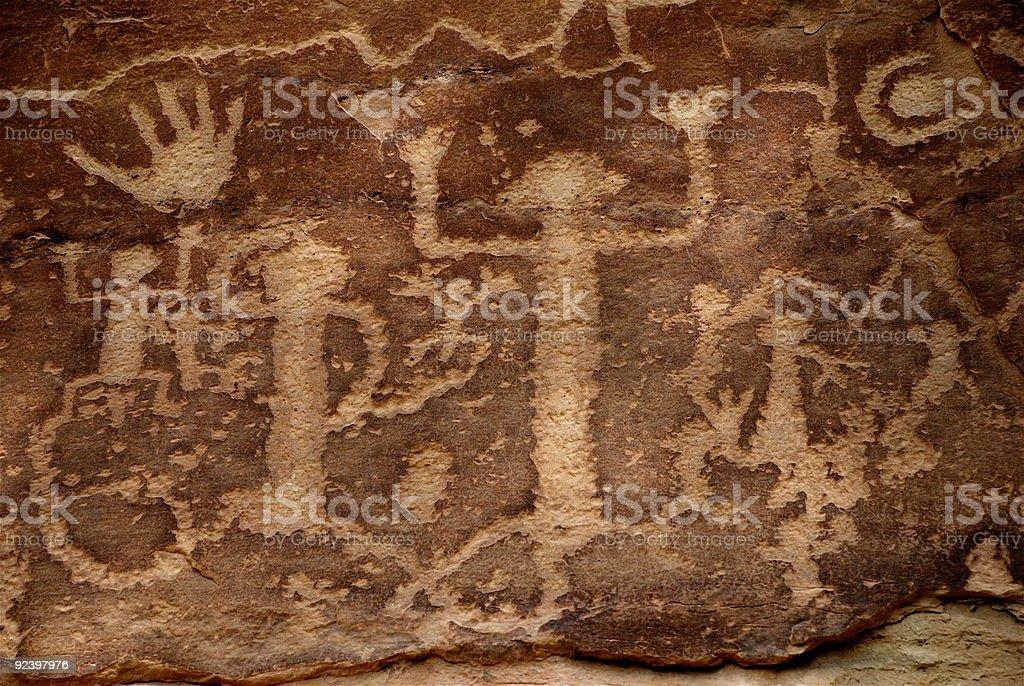 Ancestral Puebloans (Anasazi) Petroglyphs - Cave Paintings stock photo