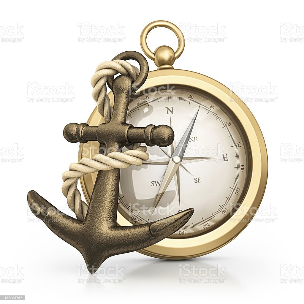 anchor and compass stock photo