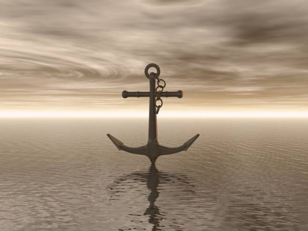 Anchor and landscape 3D illustration rendering stock photo