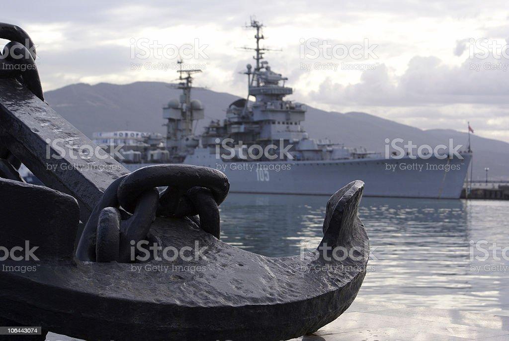Anchor and ship royalty-free stock photo