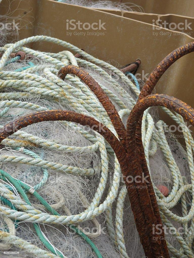 Ancre et Filet de Pêche de Chalutier stock photo