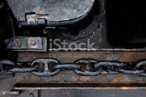 Detail of anchor chain on a ship.