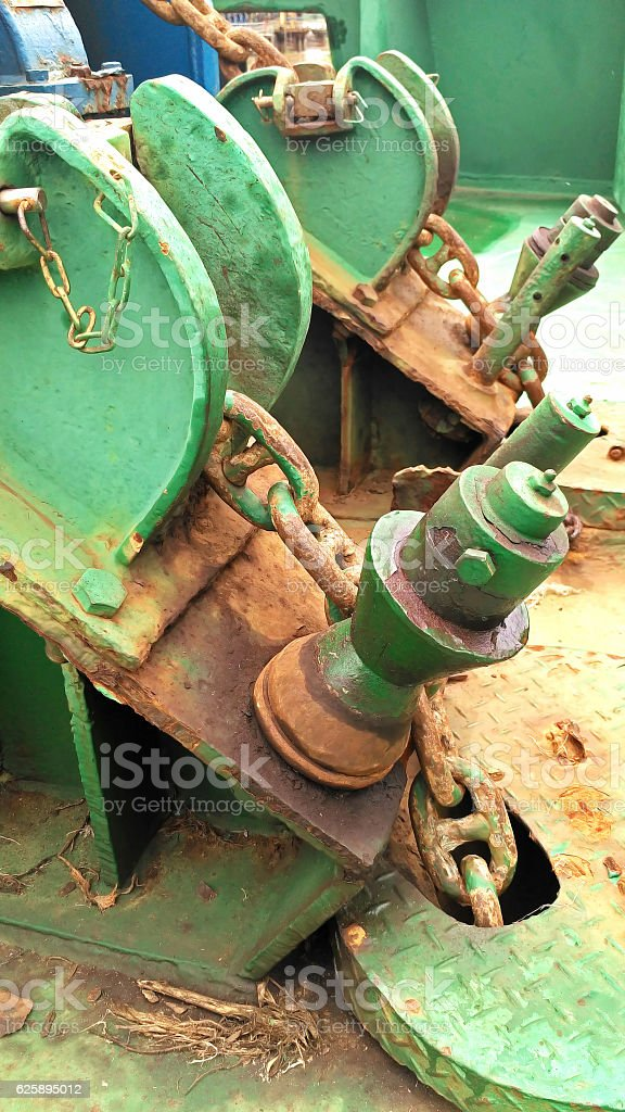 Anchor chain of the tug boat stock photo