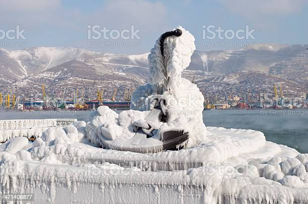 Photo of anchor frozen in ice