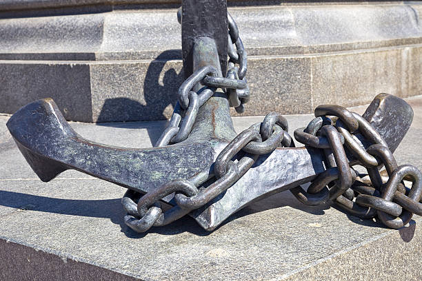 Anchor near a monument to the admiral Nakhimov stock photo