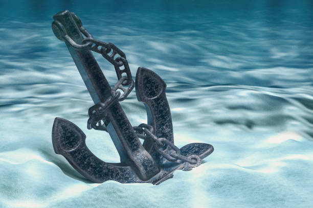 Anchor on ocean bottom underwater. 3D rendering Anchor on ocean bottom underwater. 3D rendering sunken stock pictures, royalty-free photos & images