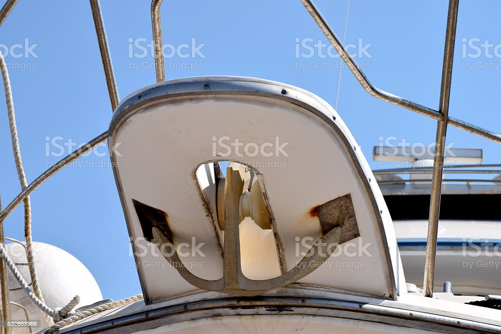 Anchor on the bow of the cruise ship stock photo