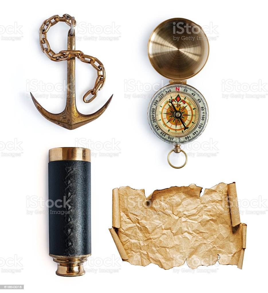 Anchor, telescope, compass and map or parchment stock photo