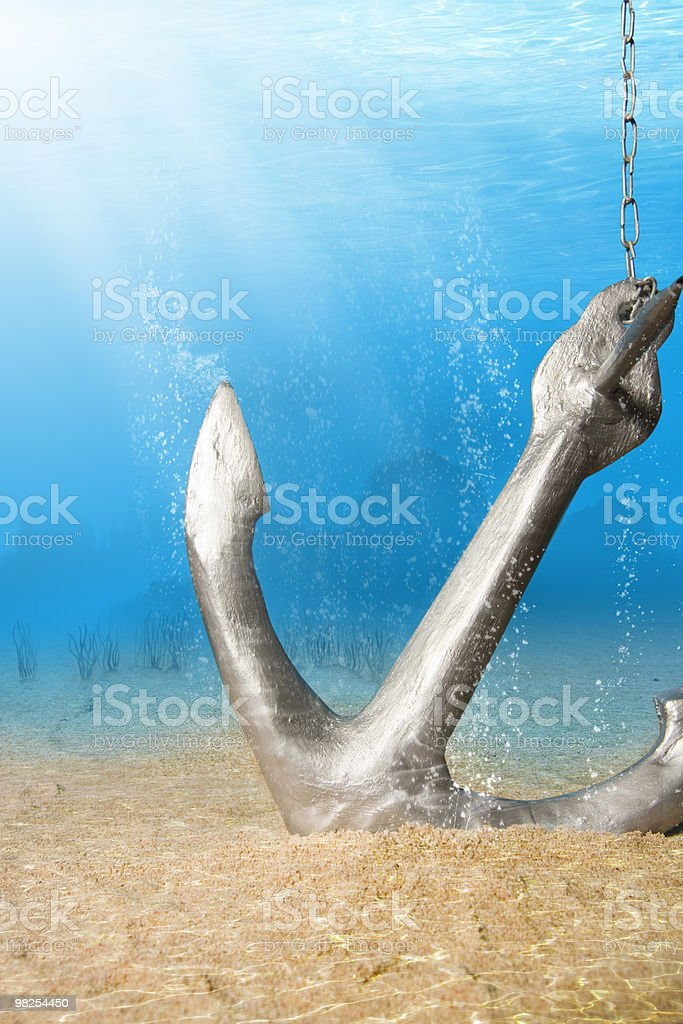 Anchor underwater royalty-free stock photo