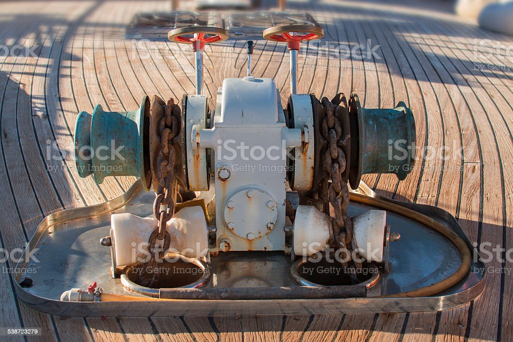 Anchor Winch mechanism stock photo