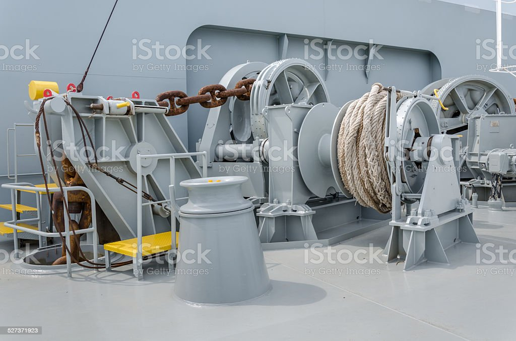 Anchor winch stock photo