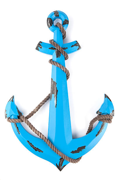 Anchor with a rope Three dimensional model of the blue painted anchor with a rope. Isolated on white. anchor athlete stock pictures, royalty-free photos & images