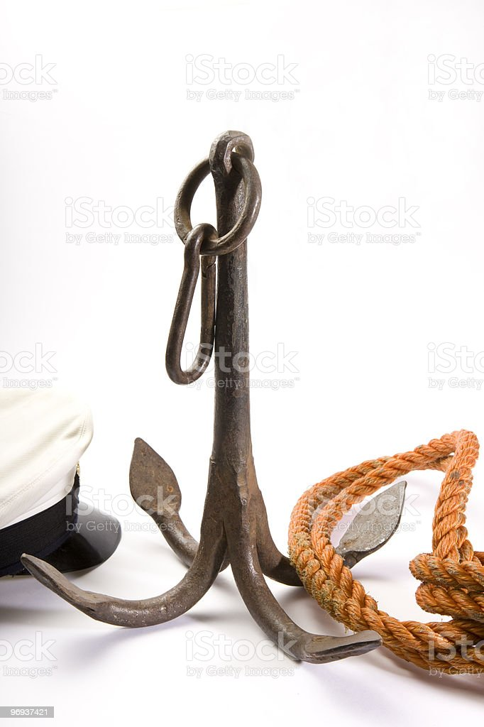 Anchor with rope royalty-free stock photo