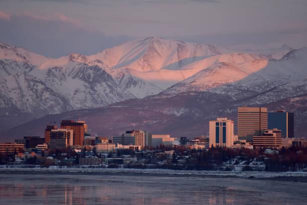 Anchorage, Alaska, at sunset stock photo