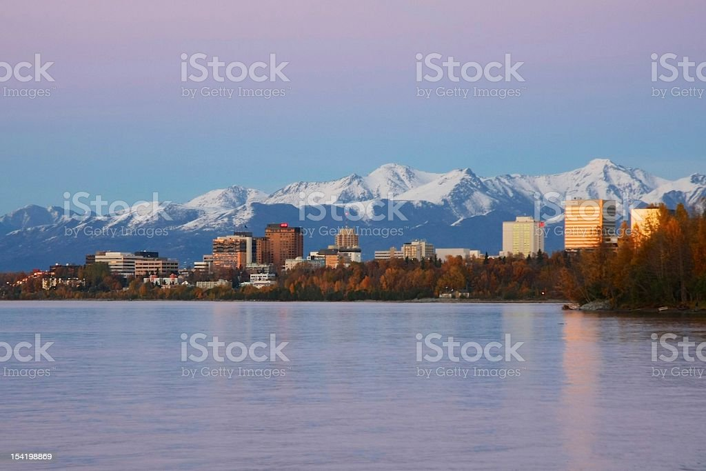 Anchorage Alaska in the Fall stock photo